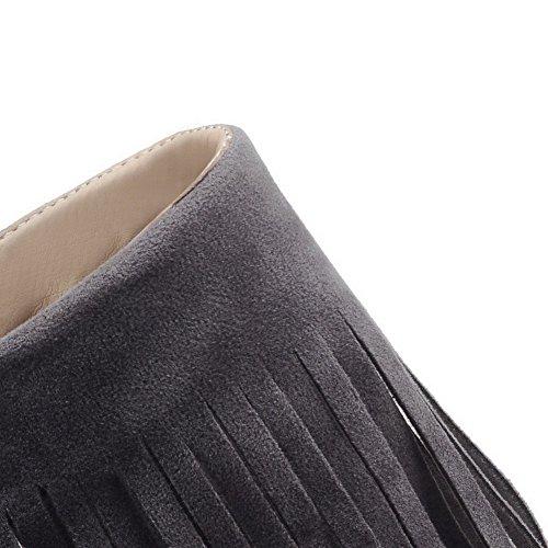 VogueZone009 Femme Dépolissement Zip Ouverture D'Orteil à Talon Haut Sandales à Talons Hauts Gris