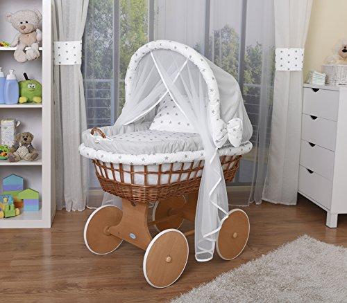 WALDIN Baby Stubenwagen-Set mit Ausstattung, XXL, Bollerwagen,komplett, 14 Farben wählbar,grau/Sterne-grau