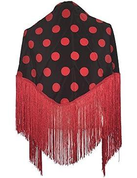La Señorita Mantones bordados Flamenco Manton de Manila negro puntos rojo