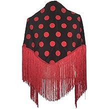 9153ca473f79 La Senorita Foulard Ceinture Chale De Danse Flamenco Broderie Frange noir  points rouge