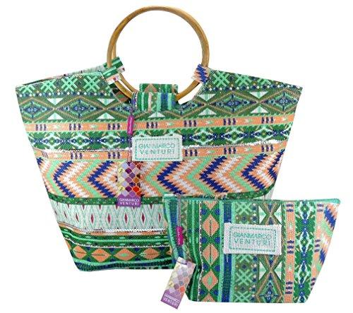 GIANMARCO VENTURI Borsa Mare donna Manici in Legno + Astuccio porta solari Abbinato borsa spiaggia beauty BAMBOO/ Verde