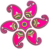 Curiocity Designer Acrylic Mini Rangoli - Jewel Stone Decorations Of Golden, White, Green, Red Accents On Dark Pink Mango (Kairi) Shape Motifs With Pink Hexagon Center Piece - 12 Inch Rangoli - 7 Piece Set