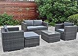 Luxus Gartenmöbel Polyrattan Lounge Sitzgruppe 2xSessel, Doppelsofa Tisch Hocker