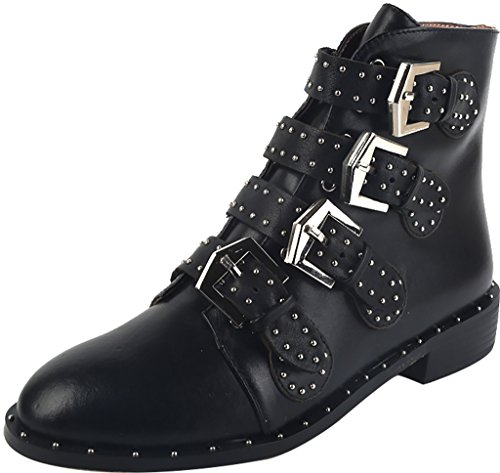 ELEHOT Donna Elebranch senza tacco 3.5CM Leather Stivali, nero, 40