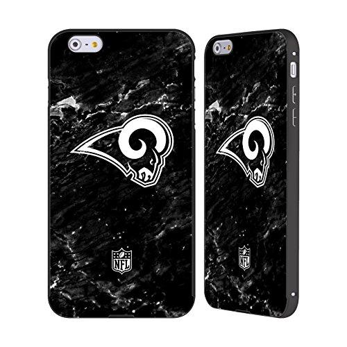 Ufficiale NFL Pattern 2017/18 Los Angeles Rams Nero Cover Contorno con Bumper in Alluminio per Apple iPhone 6 Plus / 6s Plus Marmo
