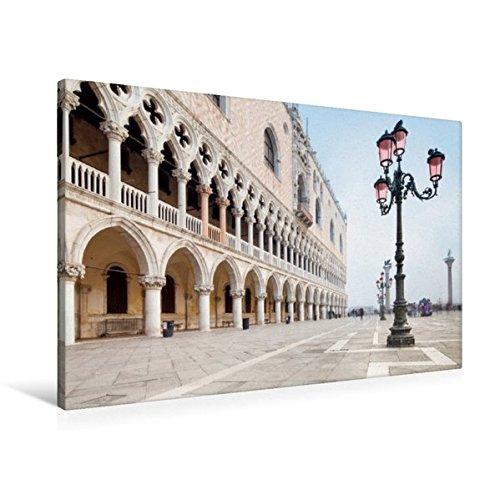 Calvendo Premium Textil-Leinwand 90 cm x 60 cm quer, Piazza San Marco in Venedig, Italien | Wandbild, Bild auf Keilrahmen, Fertigbild auf echter Leinwand, Leinwanddruck Orte Orte