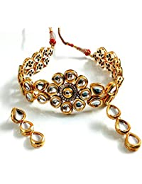 Innovaze Jewelry High Quality Kundan Choker Necklace Bridal Party Wear With Earrings And Maangtika For Women And...