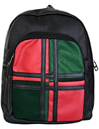 Tied Ribbons Faux Leather Stylish Backpack For Womens & Girls Coaching College School Casual Bag Daypack(Red Green...