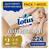 Lotus Baby Natural Touch - Couches Taille 2 (3-6 kg/Nouveau-Né) - lot de 4 packs de 56 couches (x224 couches)