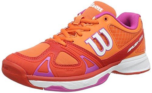 WILSON Rush Evo W V 5, Scarpe da Tennis Donna, Rosso (Nasturtium/Fiery Red/Rose Violet), 38 1/3 EU