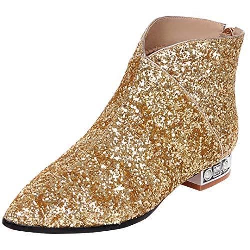 AIYOUMEI Damen Glitzer Flach Stiefeletten mit 2cm Absatz Bequem Herbst Winter Pailletten Stiefel Schuhe