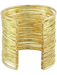 The Jewelbox Party Statement Mesh Imported 18K Gold CZ Free Size Cuff Kada Bangle Bracelet Girls Women
