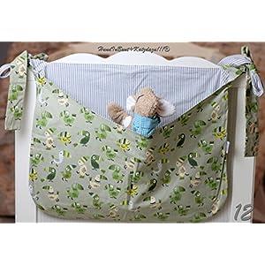 Betttasche, grün, Tukane, graue Streifen, Utensilo, Laufstalltasche aus Baumwolle