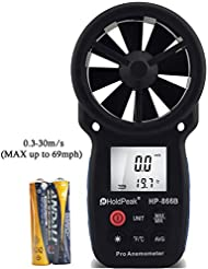 HoldPeak 866b Digital Anemometer, Windgeschwindigkeitsmesser, misst Temperatur und Windtemperatur, mit Hintergrundbeleuchtung, für Windsurfen, Kite-Flying, Segeln, Surfen, Angeln etc. Windgeschwindigkeitsmesser