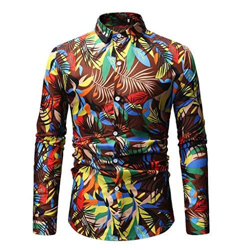 jieGREAT ❤❃ Top Räumungsverkauf ❤❃ , Männer Druck Buttons Stand Collar Collar Fit Slim Long Sleeve Blouse Shirt Tee