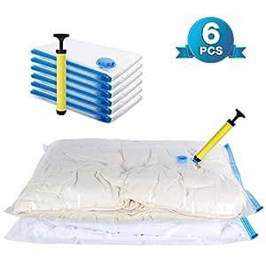 lifewit lot de 6 sacs compression pour rangement sous vide avec pompe air. Black Bedroom Furniture Sets. Home Design Ideas