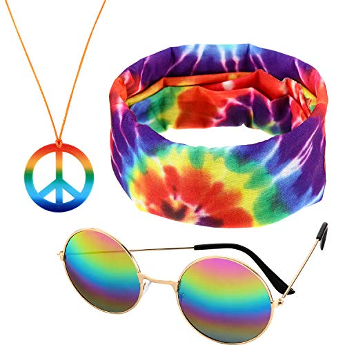 Accesorios Hippie de 3 Piezas en Color Arco Iris, Que Incluyen 1 par d