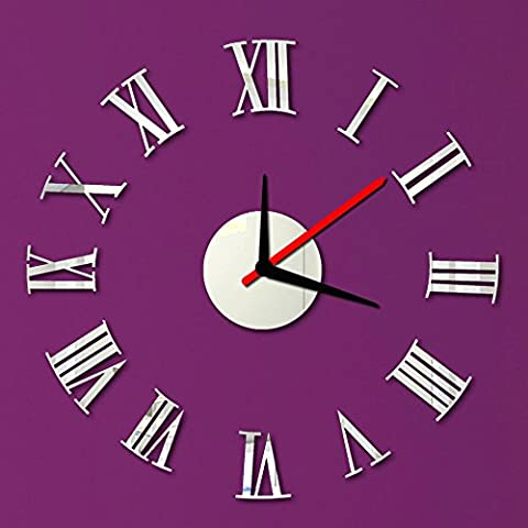 sypure (TM) roman Numerals DIY Wall Clock Sticker Set Mirror Effect Acrylic Glass Decal Home Removable Decoration