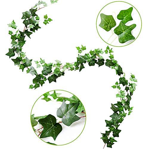 Ivy Silk Gefälschte Rebe Wandbehang Party Dekoration Hochzeit Garland Grün Blätter Garten Heimwerk Pflanzen Grün (Grün-Grün) ()