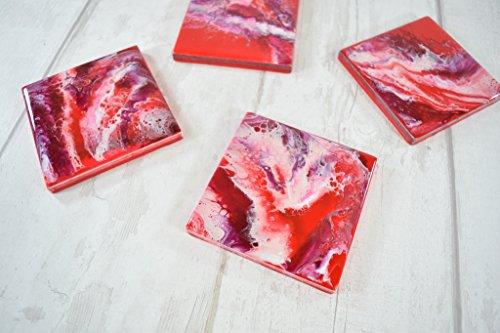 Rot Rustikal Esstisch (Rote Kunstharz Untersetzer für Getränke)