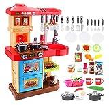 """deAO Juego de cocina infantil """"My Little Chef"""" con 30 accesorios de juego de rol en rojo"""