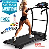 XM-PROIII TREADMILL - NEW 2017 Model Motorised Running Machine, Lightweight Folding , Powerful Motor 1100W, 12KPH Speed, 3 Level Manual Incline, 12 Auto + 1 Manual Program, Speakers, Drinks Holder, Hand Controls, Heart Rate Sensors