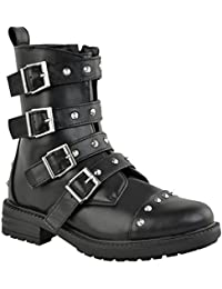 Ladies Womens Studded Flat Ankle Boots Buckle Chunky Grip Biker Punk Shoes Size