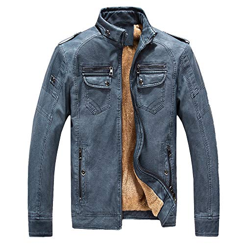 Herren Übergröße Jacke Mantel Herbst und Winter Leder Plus Velvet Washed Retro Denim Warmer Outercoat(3XL,Blau)