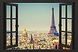 YISUMEI Hem Gewichte Vorhang Duschvorhang Anti-Schimmel Duschvorhangringe Wasserabweisender 180x180 cm Paris Offene Fenster Skyline