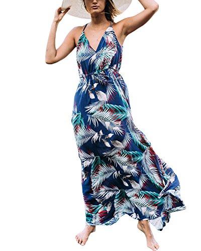 Auxo Femme Robe Longue Été Bohème Chic Col Rond sans Manche Imprime Robe de Plage Vacances Bleu 2XL