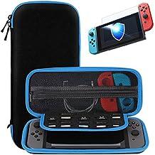 Nintendo Switch trasporta la custodia + Protezione vetrata in vetro temperato premio, SHareconn Portatile Custodia protettiva per custodia da viaggio con coperture rigide con 10 giochi per Nintendo Switch Consolle & Accessori (blu)
