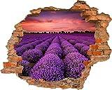 Fototapete 3D Bild Tapete Loch in der Wand Lavendel Feld Lila Blumen Abend Orange Himmel