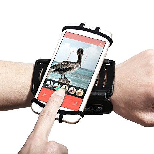 """Fascia da Braccio Sportiva EUGO Universale per Huawei P10/P10 Lite/P9/P9 Lite/P8 Lite 2017, Galaxy S8/S7/S7 Edge/S6/S6 Edge/Edge+, iPhone 7, 7 Plus,6s/6, 6s Plus/6 Plus ed Smartphone Uguale o Inferiore a 6"""",Porta Cellulare Armband da Polso con Rotazione di 180 Gradi per Corsa Running Jogging Maratona Palestra, Nero"""