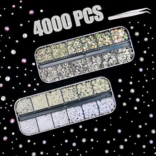4000 Pièces Strass & Perles pour Ddéco Ongle, Cristal AB Bijoux en 2 3 4 5 6 mm avec Pick Up Tweezers pour Nail Art, Maquillage Visage, DIY Coque Telephone, Diamond Painting