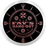 ncpq0588-r Fay's Hang Out Girl Princess Room Night Light Neon Sign LED Wall Clock