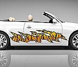 2x Seitendekor gelb schwarz Metall Kratzer 3D Autoaufkleber Digitaldruck Seite Auto Tuning bunt Aufkleber Rennstreifen Seitenstreifen Airbrush Racing Autofolie Car Wrapping Motorrad LKW Decals Sticker Tribal Seitentribal CW052, Größe LxB:ca 120x30cm