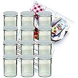 12er Set Sturzglas 435 ml Marmeladenglas Einmachglas Einweckglas To 82 weißer Deckel incl. Diamant-Zucker Gelierzauber Rezeptheft