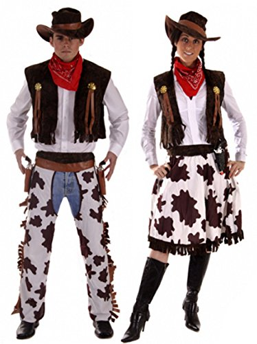 Fancy Me Paar Cowboy & Cowgirl Woody & Jessie Wilder Westen Kostüm Verkleidung Outfit Übergröße & Standard - Mehrfarbig, Ladies 10-14 & Mens - Woody Kostüm Weste