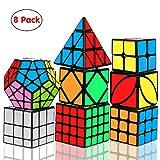 Aiduy Speed Cube Set, Smooth Magic Cube 2x2 3x3 4x4 Pyramid Megaminx Skew Mirror Ivy, 3D Puzzles Cube para Niños y Adultos, 8 Pack