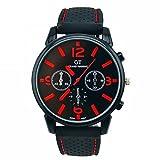 FITT Orologio da uomo al quarzo da corsa con orologio da polso analogico da uomo, in acciaio inossidabile (Rosso)