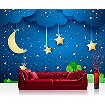 Papel Pintado Fotográfico 350x 245cm Premium Plus–Papel pintado fotográfico pared de pintado de–Dreaming Night–Papel pintado infantil Estrella Cielo Estrellas Estrellas Estrellas Cielo Nocturno Luna–No. 120