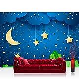 Vlies Fototapete 200x140 cm PREMIUM PLUS Wand Foto Tapete Wand Bild Vliestapete - DREAMING NIGHT - Kindertapete Sternenhimmel Stars Sterne Leuchtsterne Nachthimmel Mond - no. 120