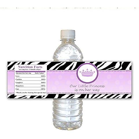 30Bottiglia Etichette Impermeabile per principessa Shower Party Favors, Viola Zebra della giungla