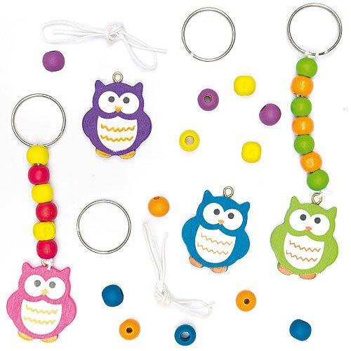 Schlüsselanhänger- und Taschenschmuck-Bastelsets Eule aus Holz zum Basteln für Kinder (4 Stück)
