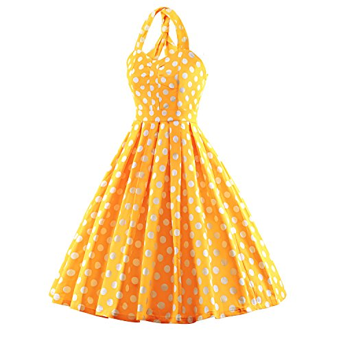 LUOUSE Damen 'Audrey Hepburn' Polka Dots Druck Holder Weinlese- Rockabilly Swing Abend Hochzeit Abschlussballkleid Gelb