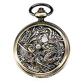 Treeweto meccanico scheletro orologio da tasca bronzo Lucky Dragon + confezione regalo