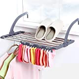 Flyngo Clothes Drying Stand Foldable Balcony Window Laundry Hanger Clothing, Socks, Shoes Rack