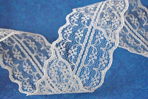 Ribbon Queen 10 Meter Vintage 47mm Lace Border, Hochzeit dekorative Band, Handwerk,. Von Scottish Company viele Farben erhältlich (Schneeweiß (weiß)) - Scottish Lace