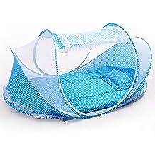 Laat tienda mosquitera cuna de viaje cama protección contra insectos portátil plegable para bebé tienda de playa con pequeño colchón, música almohada y Pack bebé cuna cuna mosquitera