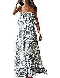 Luojida Vestito a Fiori Donna Abito Maxi Vestiti con Rouches Dress di Senza Maniche  Eleganti Vestito 761631828c1
